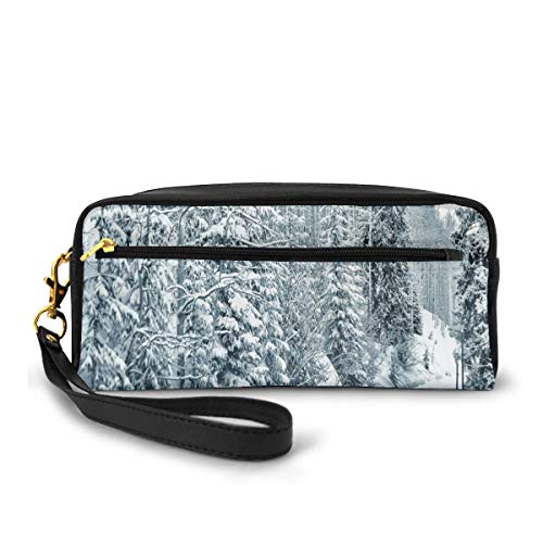 Pencil Case Pen Bag Pouch Stationary,Ski Themed Snowy Road Cold Parts of The World Footprints Colorado United States,Small Makeup Bag Coin Purse