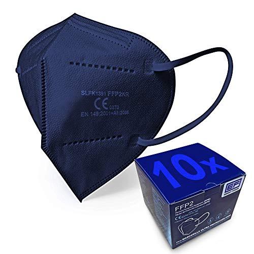 ENERGY FUSION 10 Mascarillas FFP2 Azul Ultra Proteccion, Homologada, Certificación CE 0370 (10-Unidades)