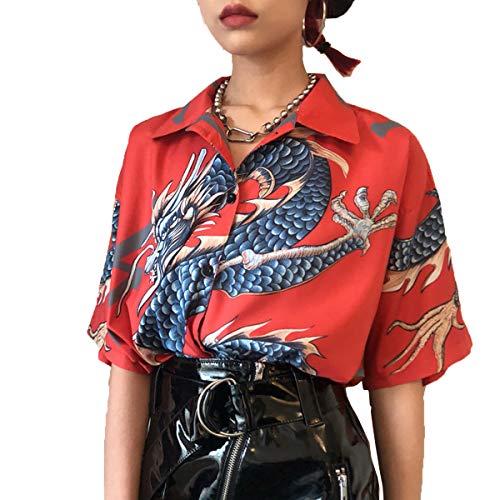 Abeaicoc Women Button Down Shirt Tops Short Sleeve Dragon Print Shirts Blouse Red OS