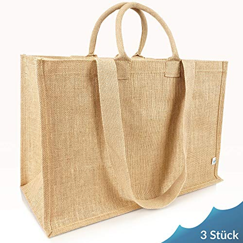 Jute statt Plastik Original   JB1415XL   Jutetasche extra groß   Einkaufstasche Jutebeutel   Fair & Nachhaltig   Shopping Einkauf   3er Set