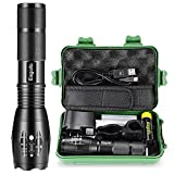 Rechargeable Flashlights High Lumens, Esgofo L2 LED Tactical Flash Lights, High Power Zoomable 5 Modes Gear Torch, with 18650 5000mAh Battery Charger USB C Cable Gift Box, for Police Camping Hiking