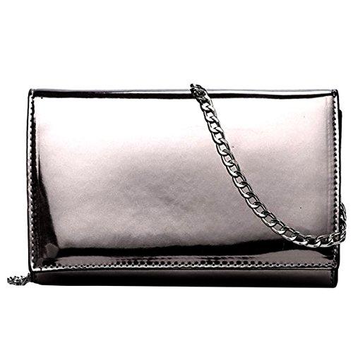 Milya Damen Kleine Lackleder Quadratische Tasche Schultertasche Umhängetasche mit Metallkette Silber schwarz