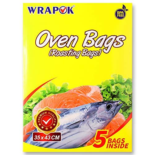 WRAPOK Bolsas de cocina para horno y pollo para carne, aves, pescado, mariscos, verduras, tamaño mediano, 5 bolsas (35,5 x 43,7 cm)