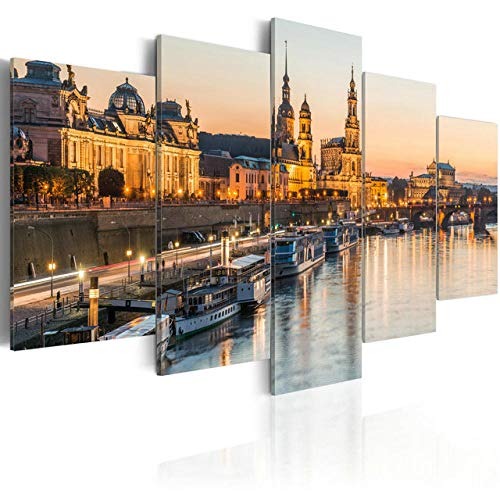 5 Panel Ephany Art Brühl's Terrace Paintings Modern Giclee Stretched and Framed Artwork Oil Pictures Photo Prints On Canvas