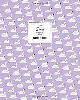Swan Notebook - Ruled Pages - 8x10 - Large: (Violet Edition) Fun bird notebook 192 ruled/lined pages (8x10 inches / 20.3x2...