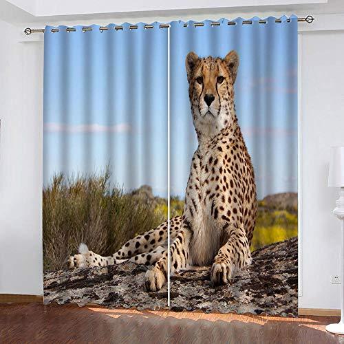 DRFQSK Cortinas Opacas Térmicas Aislantes para Salon Cortinas con Ojales para Dormitorio Impresión 3D Leopardo Animal Cielo Azul Cortinas para Ventanas 2 Piezas 140 X 160 Cm(An X Al)
