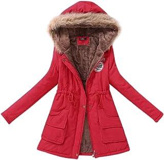 PinShang Women Long Warm Fleece Coat with Hood Fluffy Collar Tight Waist Cotton Jackets red XXXL