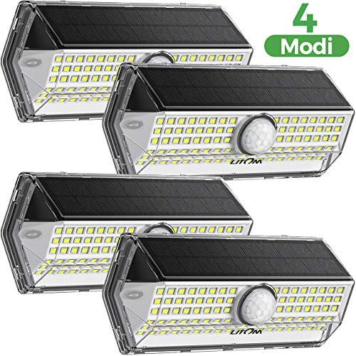 Solarlampen für Außen, Verbessern Solarlampen für Außen mit 4 Beleuchtungs modi , Solarleuchte Aussen, IP67 Wasserdichte WandleuchteSolarlicht für Garten 4 Stück
