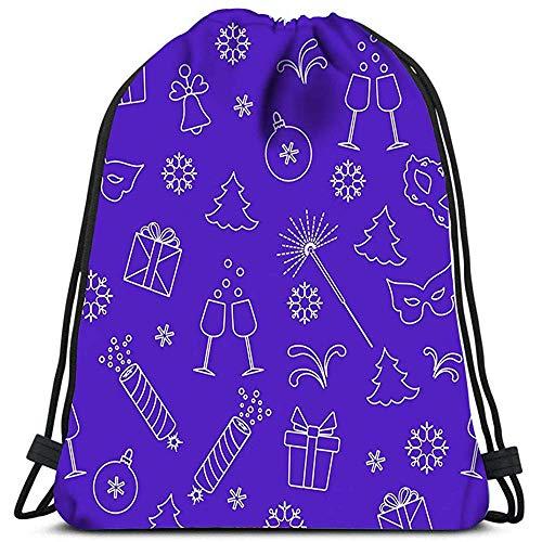 Dingjiakemao Turnbeutel Tasche Neujahrssymbole Geschenke Feuerwerkskörper Feuerwerk Perlen Brille Champagner Bell Yoga Runner Daypack Schuhbeutel