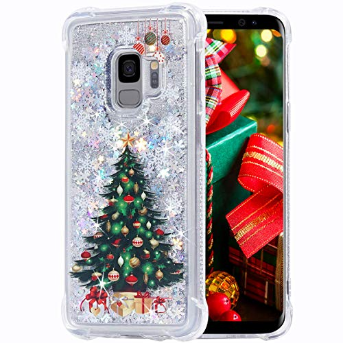 Flocute Galaxy S9 Case, Galaxy S9 Glitter Chrismas Case Bling Sparkle Floating Liquid Soft TPU Cushion Luxury Fashion Girly Women Cute Case for Samsung Galaxy S9 (Christmas Tree)