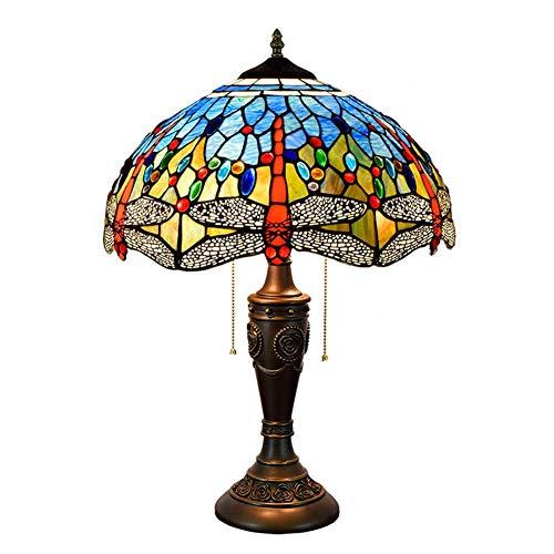 CENPEN Lámpara de Mesa Azul de la libélula Shade 16 Pulgadas Stained Glass Cubierta Lámparas de Mesa de Habitaciones (40 cm) Vida de la lámpara lámpara de cabecera