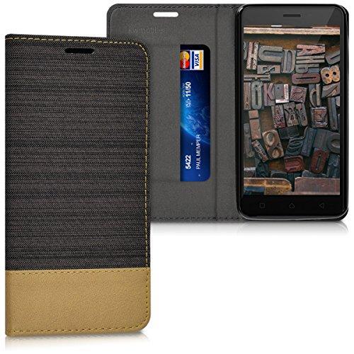 kwmobile Lenovo K6 Hülle - Stoff Handy Cover Case mit Ständer - Schutzhülle für Lenovo K6 - Anthrazit Braun
