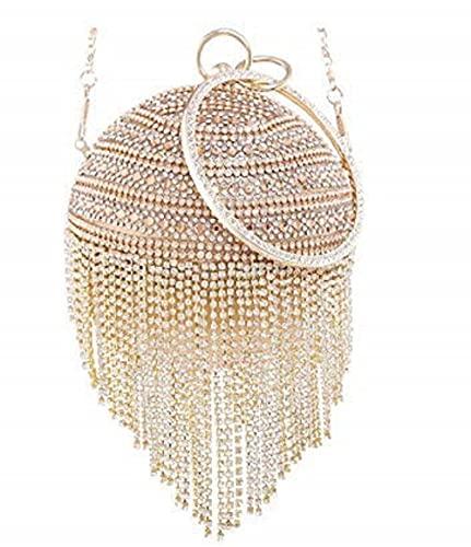 LONGBLE Clutch Kugel Handtasche rund Glänzend Strass Quasten mit Armreif Griff und abnehmbarer Kette Geldbörse Abendtasche Mini Kugel Form Brauttashe Umhängetasche Party Hochzeit (Gold)