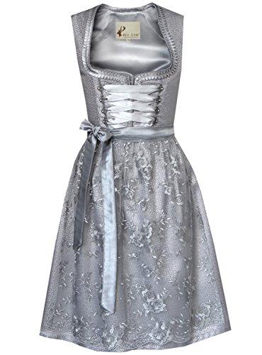 2tlg. Damen Dirndl Kleid A341, Grau, 34