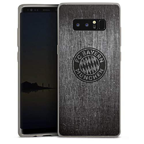 DeinDesign Slim Hülle extra dünn kompatibel mit Samsung Galaxy Note 8 Duos Silikon Handyhülle anthrazit Hülle Metallic Erscheinungsbild FCB FC Bayern München
