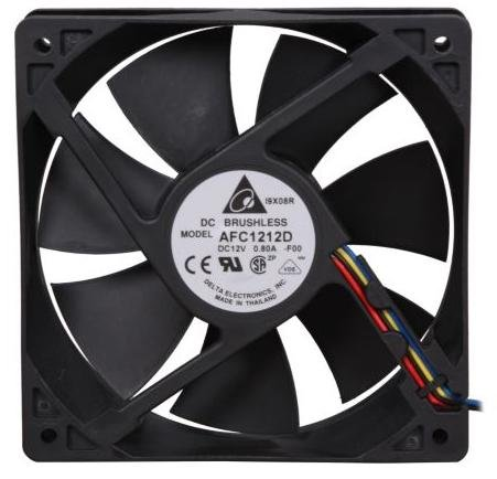 Delta AFC1212D 120 x 120 x 25mm PWM Cooling Fan, 3400 RPM, 113.11 CFM, 46.5 dBA, 0.53A, 4 pin PWM Connector, Ship from Los Angeles