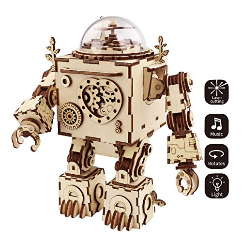 ROKR 3D Wooden Puzzle Music Box Craft Toys Best Gifts for Men Women Kids Machinarium DIY Robot Figures with Light for Christmas Birthday