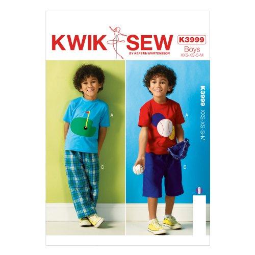 KWIK - SEW PATTERNS K3999 Maat XXS - Extra-Small - Klein - Medium Jongens Top, Shorts en Broek, Pack van 1, Wit