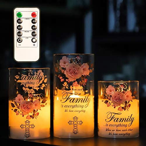 SILVERSTRO Glass Battery Operated Candles with Remote, Moving Flame Pillar Wax Flameless LED Candle, Christian Themed Night Light, Spiritual Gifts for Women, Ideas for Home Décor - Set of 3