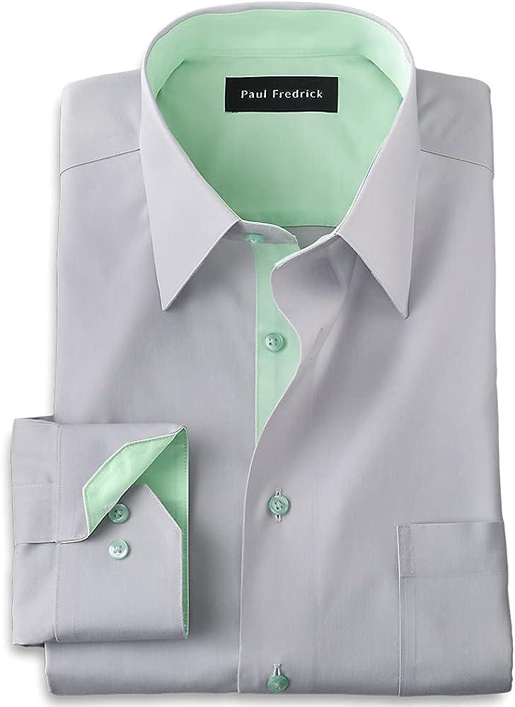 Paul Fredrick Men's Classic Fit Non-Iron Cotton Solid Dress Shirt