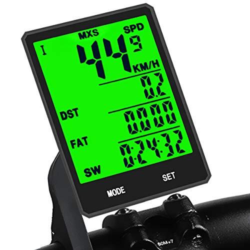 KASTEWILL Ciclocomputer Senza Fili Multifunzionale metri Bici Grandi LED Display Retroilluminato Tachimetro per Bici, Distanza, velocità, Tempo