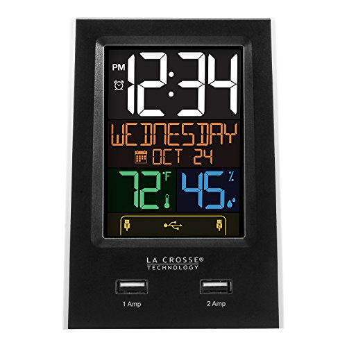 La Crosse Technology C86224 Dual USB Charging Alarm with nap Timer, Black