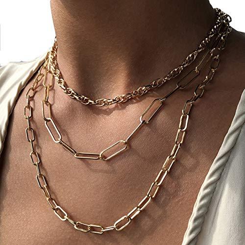 BNMY Collar Delicado para Mujer, Collar Retro De Aleación, Estilo Étnico, Collar De Traje Multicapa, Accesorios De Mujer para Niñas Adolescentes,Oro