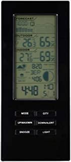 Wireless Thermometer Hygrometer Weather Station Barometer Forecast USB Outdoor Sensor Weather Monitoring Alarm Clocks (Col...