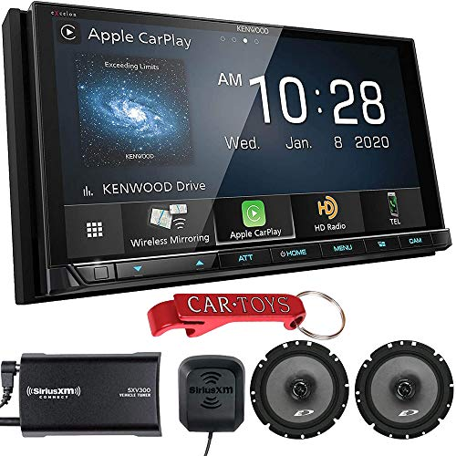Kenwood Excelon DMX957XR 6.8' Digital Media Receiver Endless Entertainment Bundle with SiriusXM Tuner and Premium Alpine Coaxial Speakers. Wireless Apple CarPlay and Android Auto, Capacitive Display