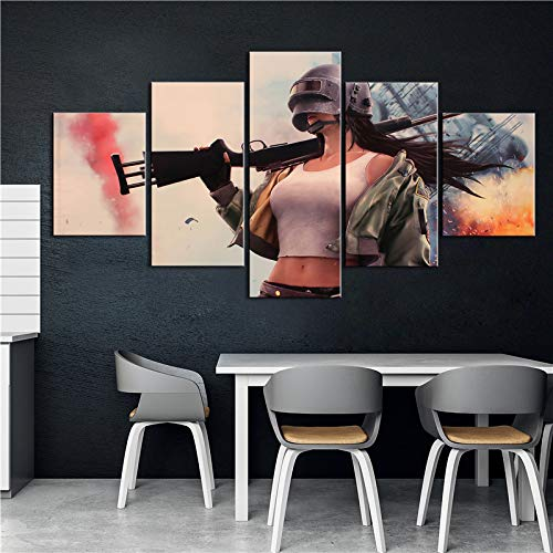 5 Stück dekorative Malerei Poster New Fashion Office Home Wandbild Pubg Spiel Sexy Girl Art Scenery Painting(Frameless size2)