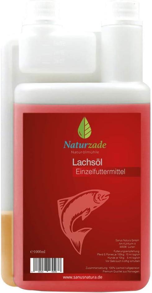 Aceite de salmón, pienso para caballos y perros, botella con dosificador de 1 litro, de Naturzade