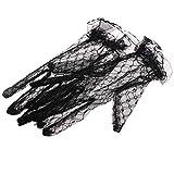 JIAOAO 1 par de guantes de boda de encaje negro sexy de encaje corto de novia guantes completos de boda fiesta de noche guantes para mujer