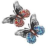 2 Piezas Esculturas Arte Pared Mariposa,Forjado Decoración Colgante Mariposa Metal,Mariposas 3D Ahuecada,Decoración de Color para Dormitorio,Sala de Estar,Jardín,Pasillo (Rojo, Azul)