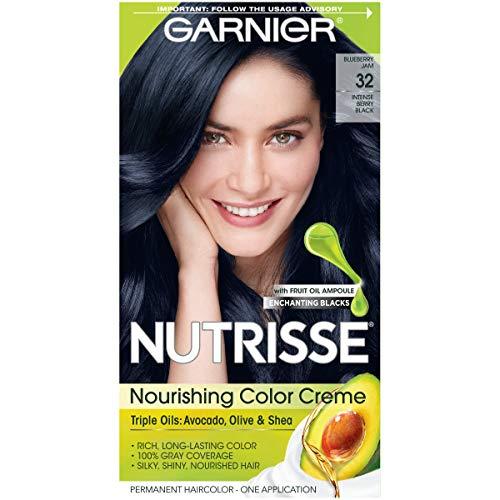Garnier Hair Color Nutrisse Nourishing Hair Color Creme, Blueberry Jam 32, Intense Berry Black, 1 Count