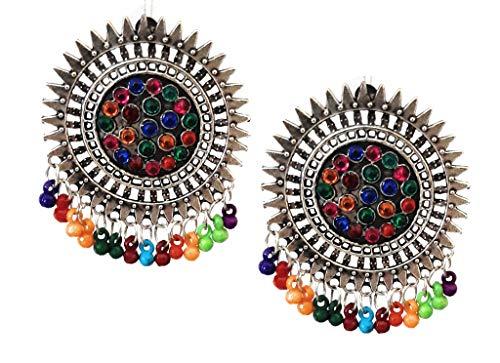 Pendientes de tuerca estilo indio Bollywood étnico tradicional de plata oxidada, gitana afgana, tribal bohemio, jhumka