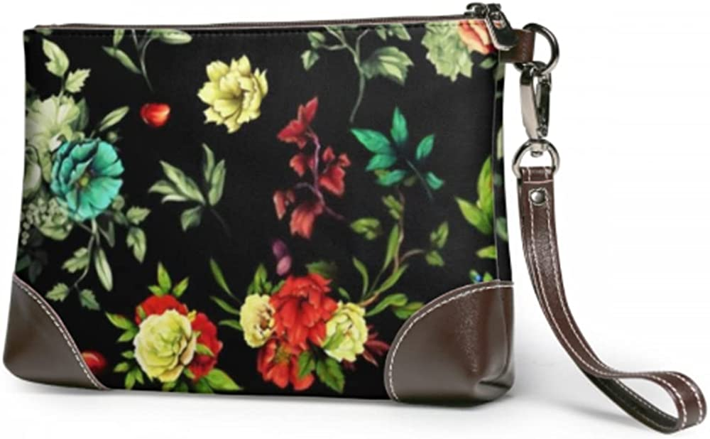 Wristlet Genuine Free Shipping Handbag Wide Max 78% OFF Floral Leather Peony Clutch Roses