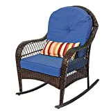 Sundale Outdoor Rocking Chairs, Patio Wicker Rattan Rocker Chair with Cushion and Pillow, Porch Chairs Wicker Patio Furniture - Steel Frame, Brown, Blue