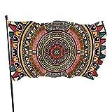 Decoraciones Tribal Folkloric Tribe Bandera de jardín azteca redonda Bandera de 3 x 5 pies con ojales de latón Casa de mosca Interior Exterior Casa Barco Coche de yate