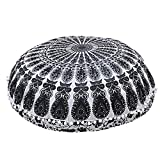 32 Inches Round Mandala Floor Pillow Throw Living Room Decor Round Seating Pouf Cover (Black White)