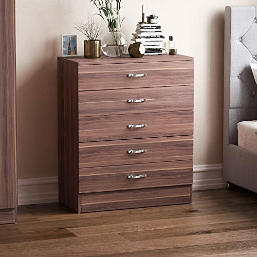 Vida Designs Walnut Chest of Drawers, 5 Drawer With Metal Handles & Runners, Unique Anti-Bowing Drawer Support, Riano Bedroom Furniture