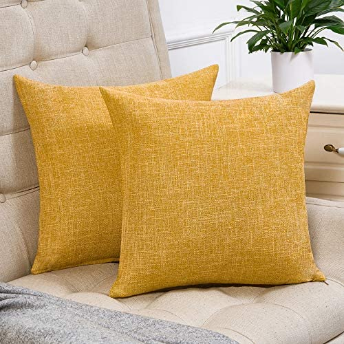Best Anickal Set of 2 Mustard Yellow Farmhouse Pillow Covers Cotton Linen Decorative Square Throw Pillow