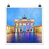 Poster Erleuchtetes Brandenburger Tor Quadrat, Galerieprint