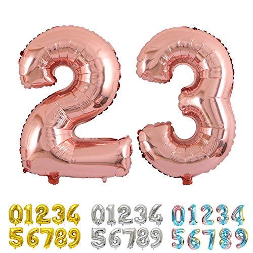 Ponmoo Foil Globo Número 23 32 Oro Rosa, Gigante Numeros 0 1 2 3 4 5 6 7 8 9 10 11 a 19 20 a 29 30 40 50 60 70 80 90 100, Helio Globos para La Boda Aniversario, Globo de Cumpleaños Fiesta Decoración