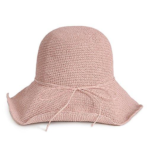 WYYY Chapeau Dame Chapeau De Soleil Chapeau De Plage Pliable Fabriqué À La Main par Le Travers Protection Contre Le Soleil (Couleur : Rose Clair)