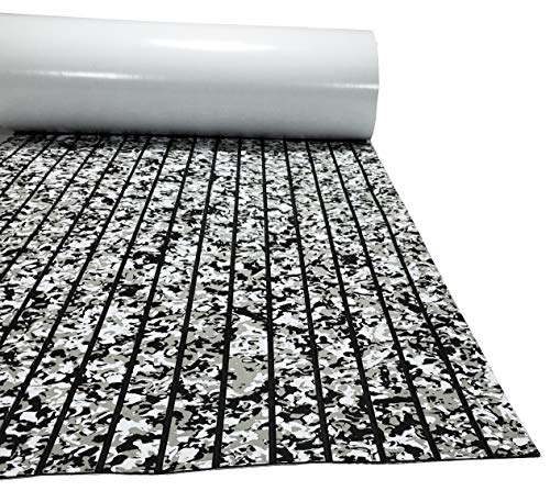KT GuoMei 94.5'× 35.4' EVA Foam Boat Decking Sheet Faux Teak Decking Self-Adhesive Marine Yacht RV Swimming Pool Boat Flooring Sheet Thick Non-Skid (Camouflage and Black Stripes)