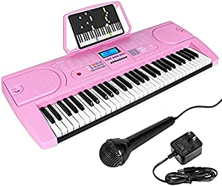 AKLOT 61 Key Piano Keyboard Portable Small Electronic Piano Keyboards w/LCD Screen & Microphone Music Stand for Kids Begin...