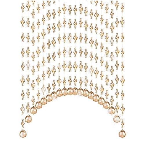 WEM Cortinas de Cuentas Decorativas para el Hogar, Cortinas de Cuentas, Sala de Estar, Dormitorio, Cortina de Partición de Arco, Cortina de Puerta de Cristal, Pasillo de Entrada, Cortina Colgante, Fá