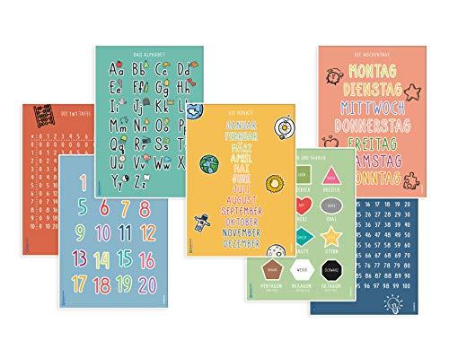 7 Stück pädagogische Lernplakate Lernposter für Kinder Grundschule Schule Deko Kleinkinder Poster Vorschule Lesen Schreiben ABC Alphabet Buchstaben Zahlen Lernen Montessori DINA4 Poster DEUTSCH