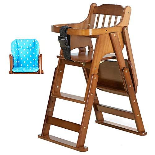 LXLA - Deluxe Klappstuhl und Kleinkindstuhl - Höhenverstellbar, 3-Punkt-Auffanggurt und Tablett, für Babys und Kleinkinder (Farbe : Dark Coffee Farbe, größe : Package 1)