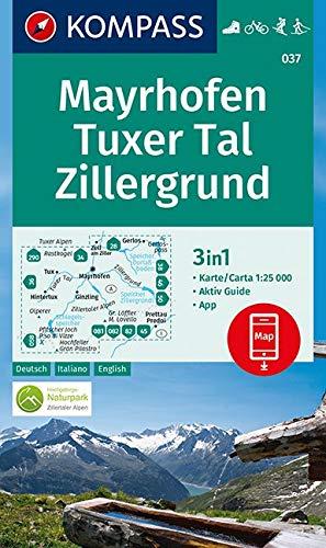 Carta escursionistica n. 037. Mayrhofen, Tuxer Tal, Zillergrund 1:25.000. Ediz. italiana, tedesca e inglese: 3in1 Wanderkarte 1:25 000 mit Aktiv Guide ... Fahrradfahren. Skitouren. Langlaufen